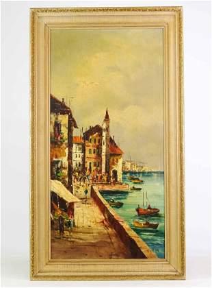 Vintage Seaside Landscape Painting