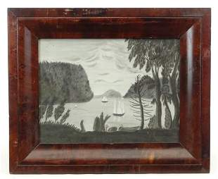 19th c. Sandpaper Drawing of West Point