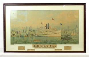 """Lithograph """"FALL RIVER LINE / OLD COLONY STEAMBOAT"""
