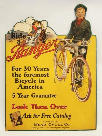 C.1920's NOS Ranger Bicycles Sign