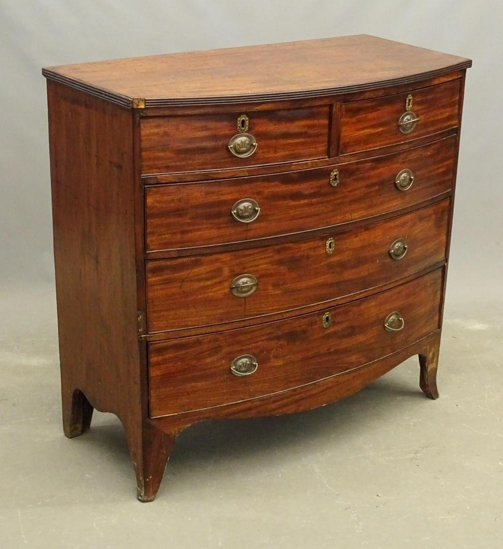 19th c. Hepplewhite Mahogany Chest of Drawers