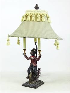 Monkey on High Wheel Bicycle Lamp