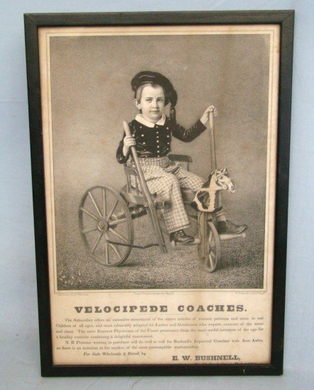 "84: C. 1860-70's Litho ""Velocipede Coaches"""