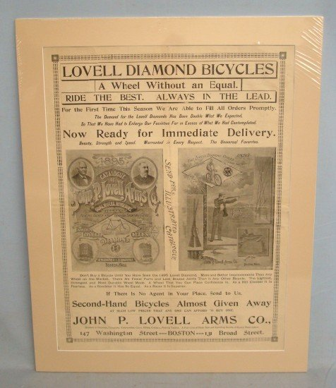 "94: C. 1895 ""Lovell Diamond Bicycles"" Poster"