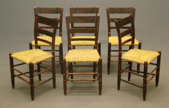 17: Set Of Six 19th c. Chairs