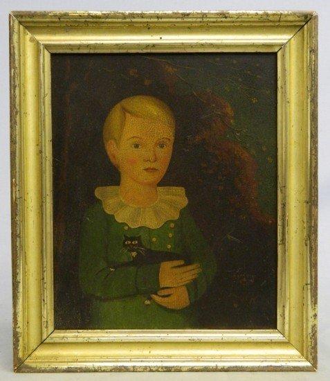 36: 19th c. Folk Art Painting Boy With Cat