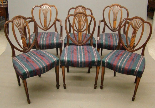 23: Set Of Six Hepplewhite Style Chairs