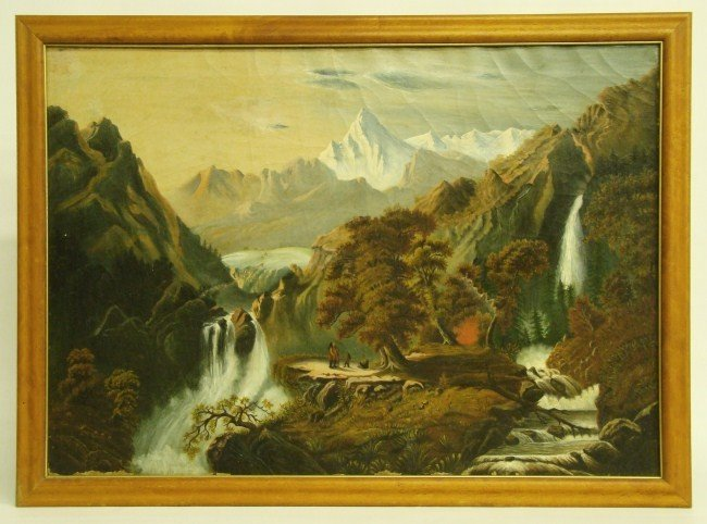 14: 19th c. Painting Indians In Landscape