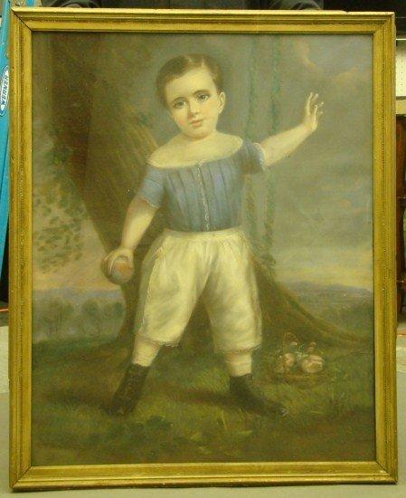 16: 19th c. Pastel Boy Signed David K. Case