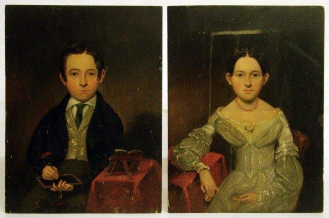 39: Pair 19th c. Portraits