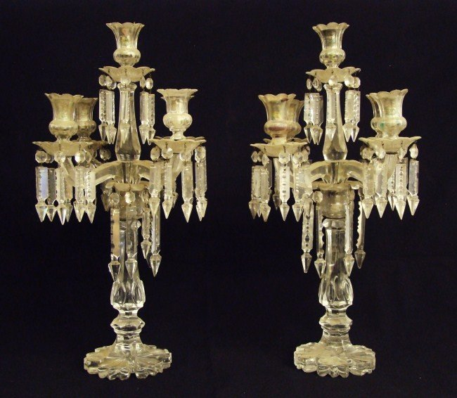 100: Pair Early Clear Glass Candelabra