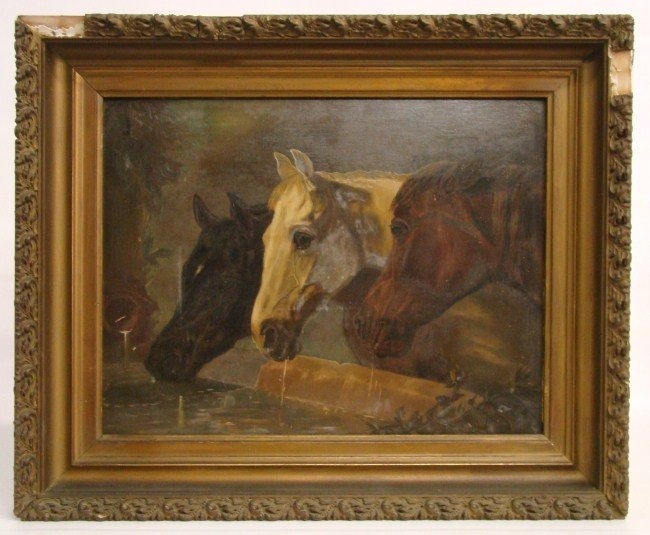415: 19th c. Painting Horses