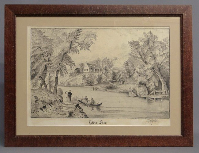 """21: 19th c.  Watercolor Signed """"W.H. Harvey"""""""