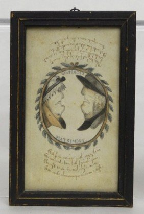 19th C. Folk Art Watercolor