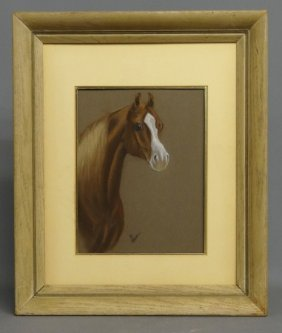 Pastel Horse Signed P. Holt