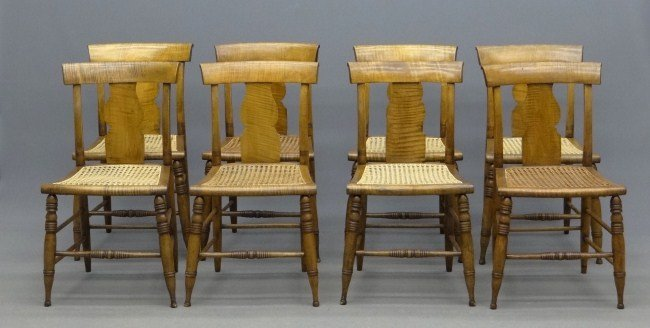 172: Set Of Tiger Maple Chairs