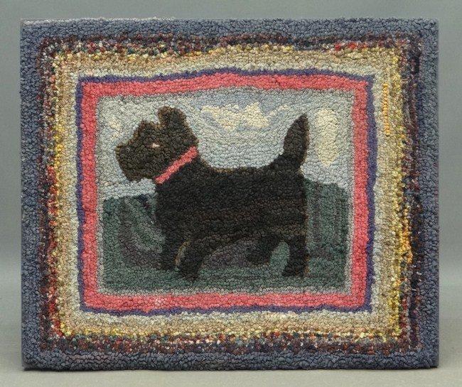 16: Scotty Dog Hooked Rug