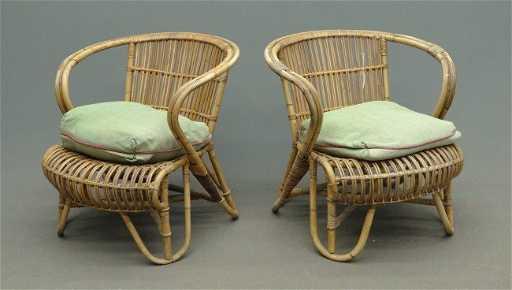 - 180: Pair Vintage Rattan Chairs