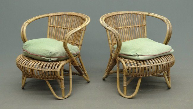 180: Pair Vintage Rattan Chairs