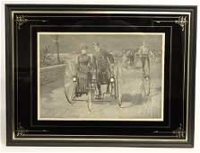 19th c Engraving Wheeling on Riverside Drive