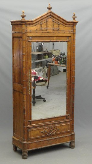 19th c. Faux Bamboo Armoire