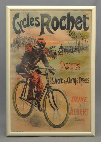 French Bicycle Poster Cycles Rochet""""