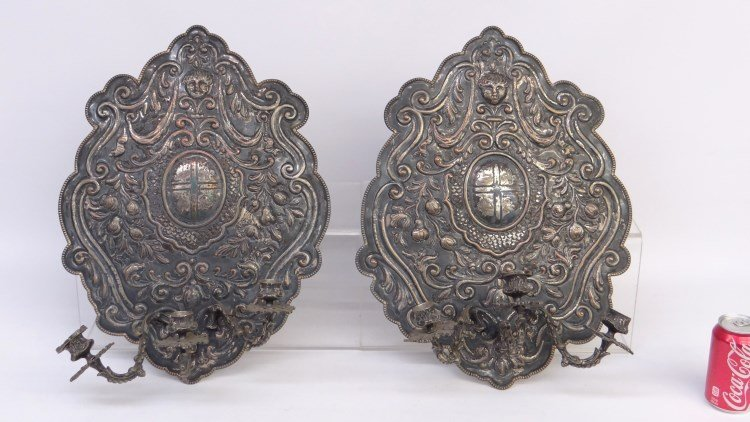 Pair Silverplate Wall Sconces