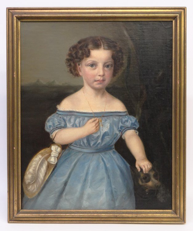 19th c. Portrait Of A Little Girl