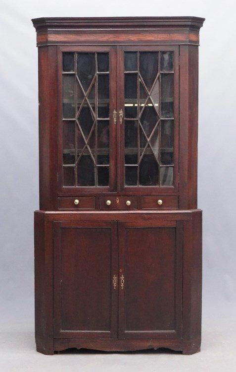 19th c. English Corner Cupboard