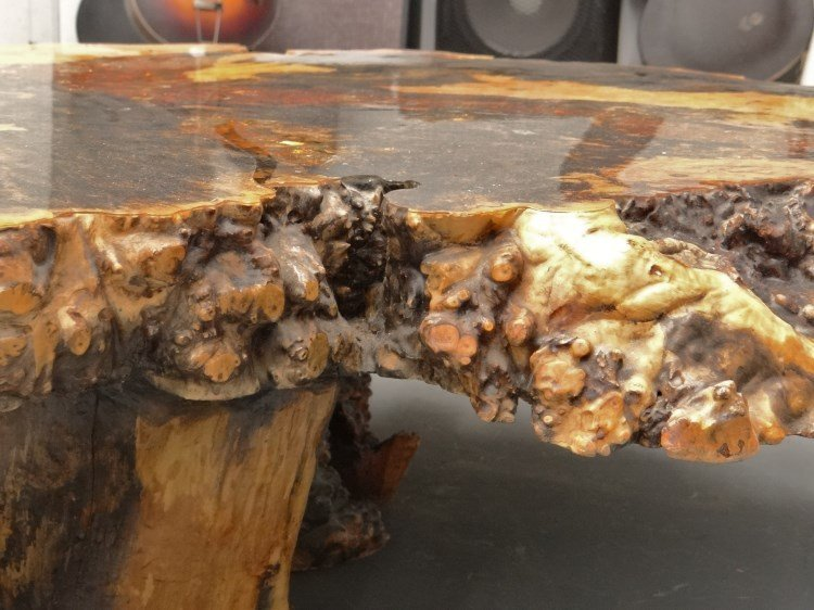 """Redwood Burl Coffee Table Labeled """"Holland's"""" - 10"""