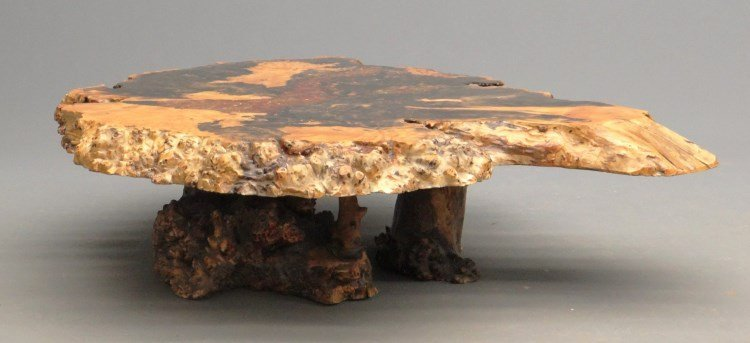 """Redwood Burl Coffee Table Labeled """"Holland's"""""""