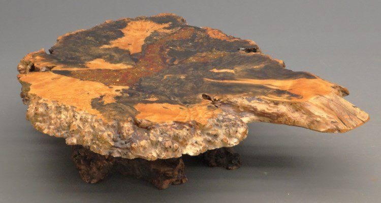 """Redwood Burl Coffee Table Labeled """"Holland's"""" - 2"""
