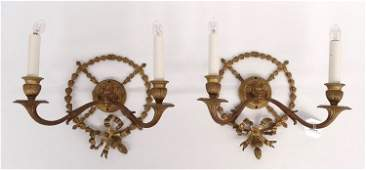 Pair Brass Sconces With Lions Heads
