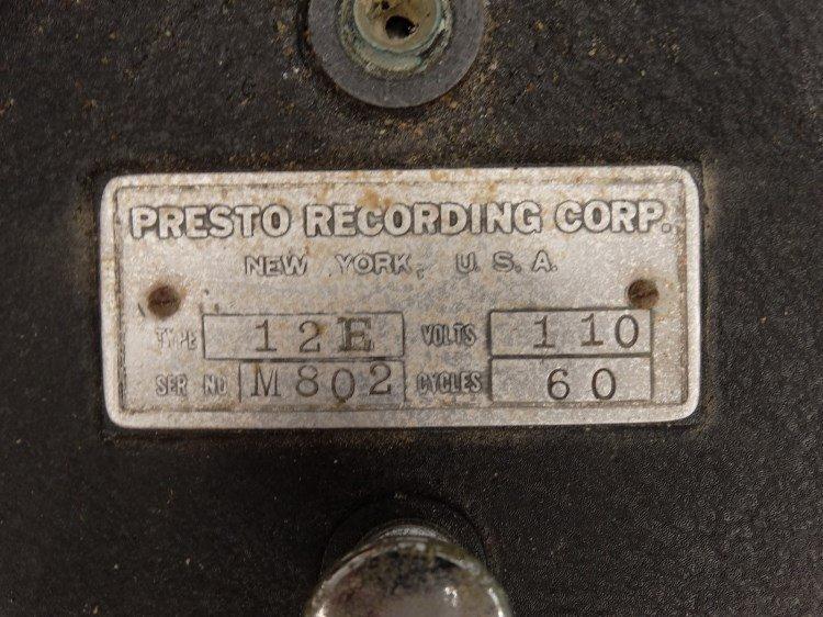 PRESTO RECORD CUTTER LATHE RECORDER, Type 12E - 5