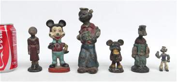 Cast Iron Popeye  Mickey Mouse Figures