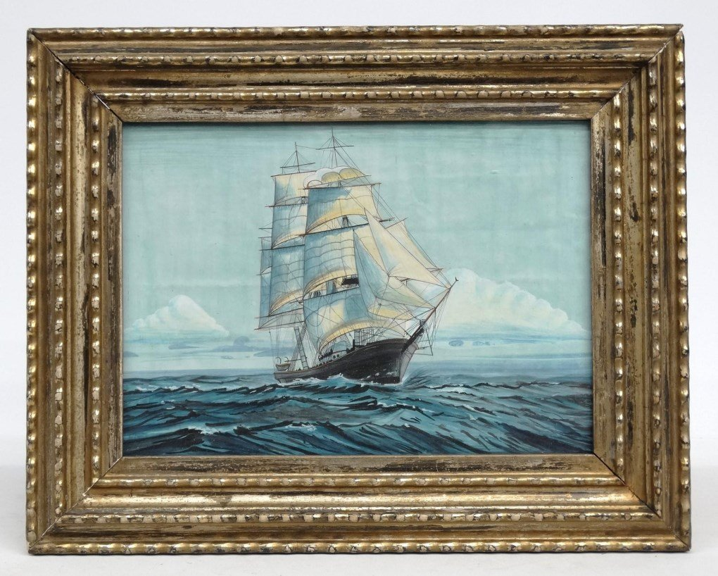 Seascape Watercolor In Ripple Molded Frame