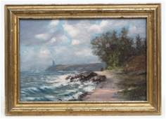 Painting Seascape Signed Illegibly