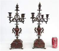 Pair Marble And Bronze Candelabra