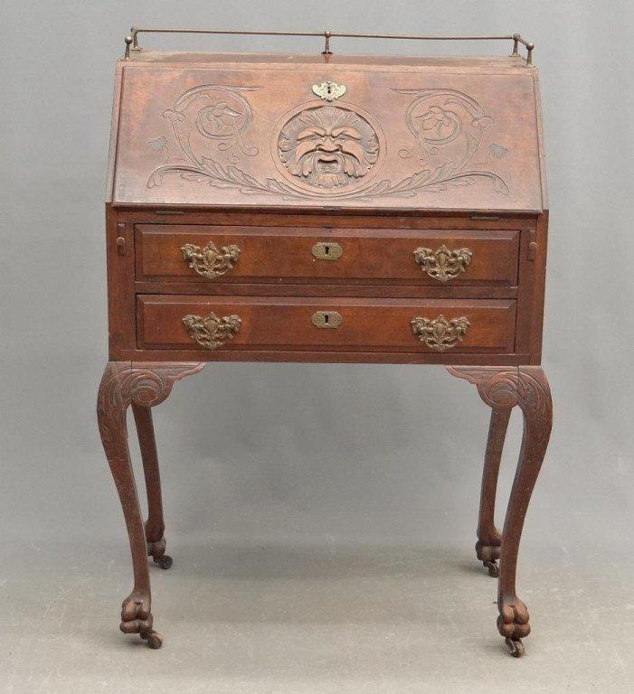 19th c. Victorian Oak Carved Desk