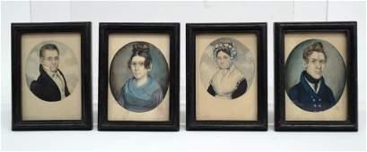 19th c. Family Group Of Folk Art Watercolors