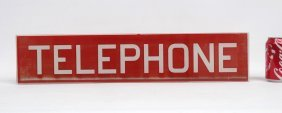 Vintage Glass Telephone Sign