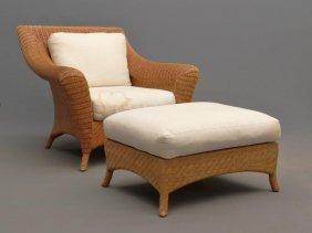 Wicker Chair & Ottoman