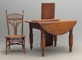 Victorian Dropleaf Table & Wicker Chair