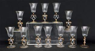 Set Of 12 Italian Murano Stemware