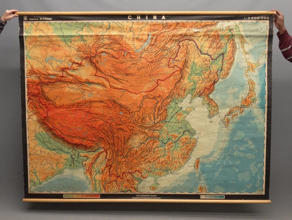 Vintage Roll-Up Map Of China