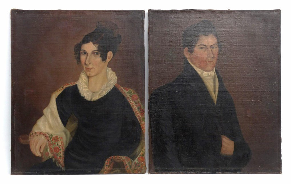 American School, Pair Of Portraits