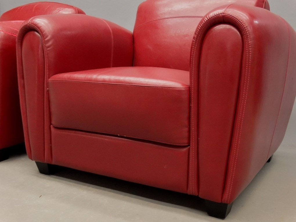 Pair Of Leather Club Chairs - 3