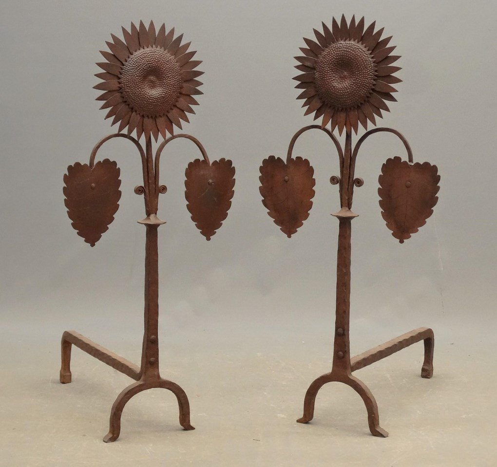 Pair Of Sunflower Andirons
