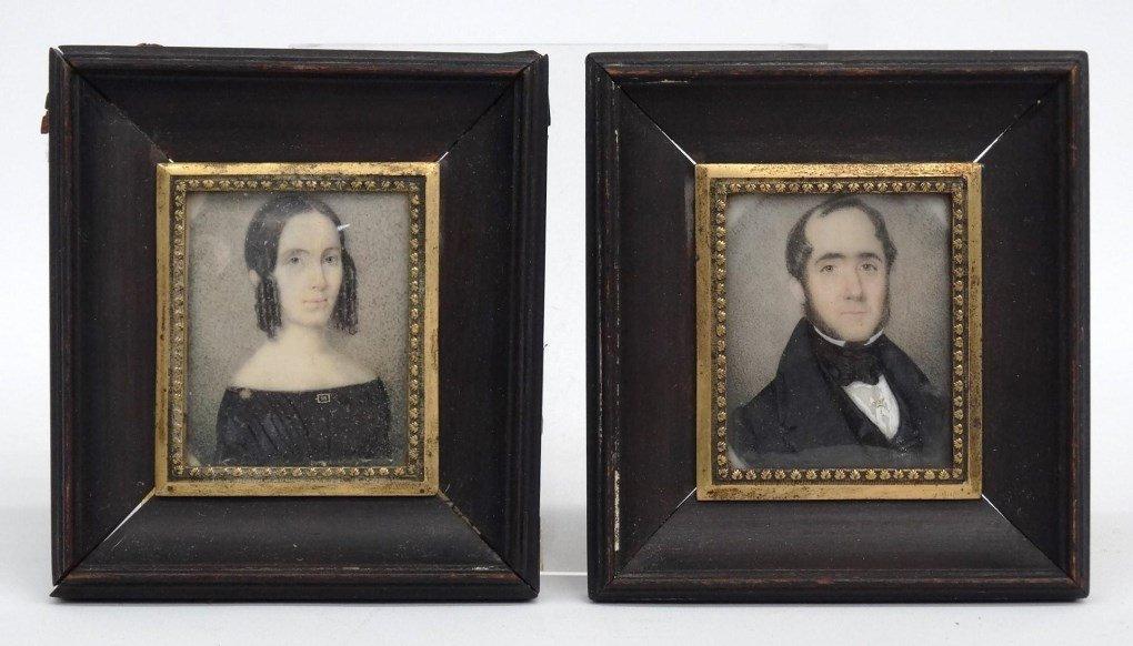 Pair 19th c. Miniature Portraits