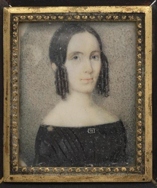 Pair 19th c. Miniature Portraits - 3